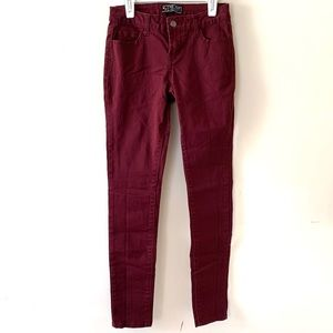 Wax Jean Burgundy Skinny Jean 5-Pocket Style 3